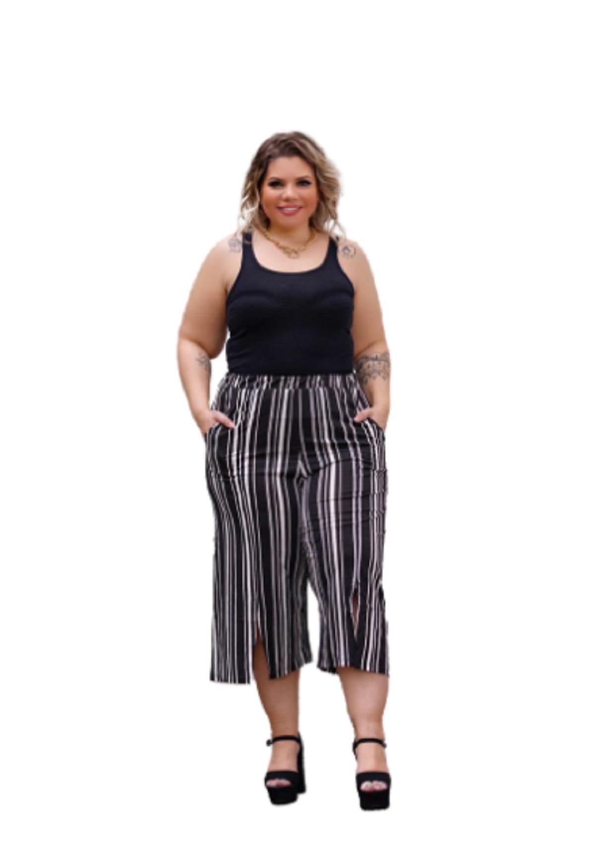 Calça Feminina Pantacourt Listrado Plus Size Mazal