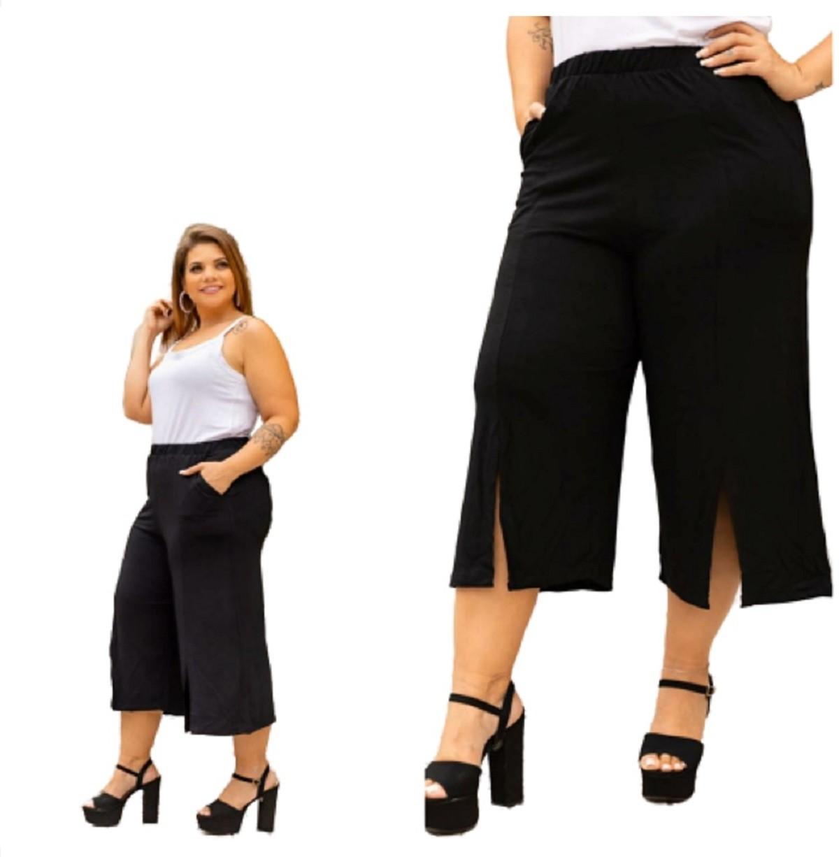 Calça Feminina Pantacourt Pantalona Preto Mazal