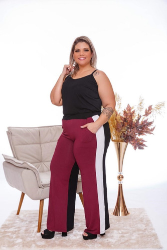 Calça Feminina Pantalona 3 Cores Com Bolsos Plus Size Mazal
