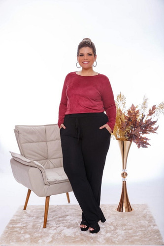 Calça Feminina Pantalona Com Bolsos Plus Size Mazal