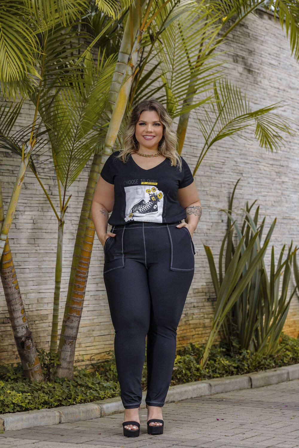 Calça Feminina Suplex Com Bolsos Plus Size Mazal