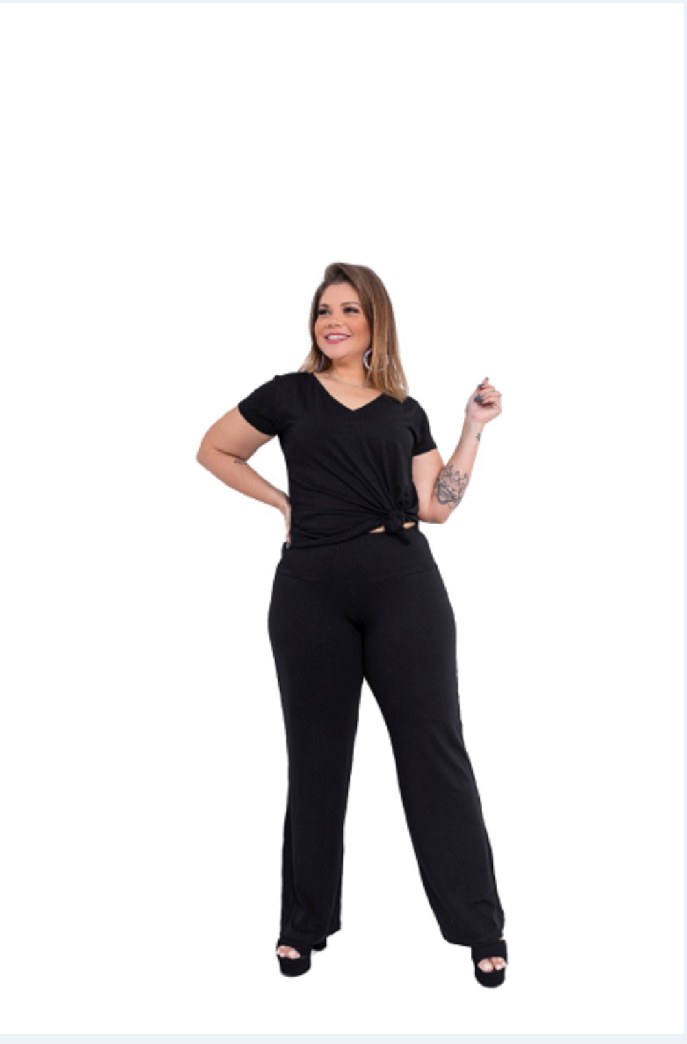 Calças Feminina Pantalona Plus Size Preto Mazal