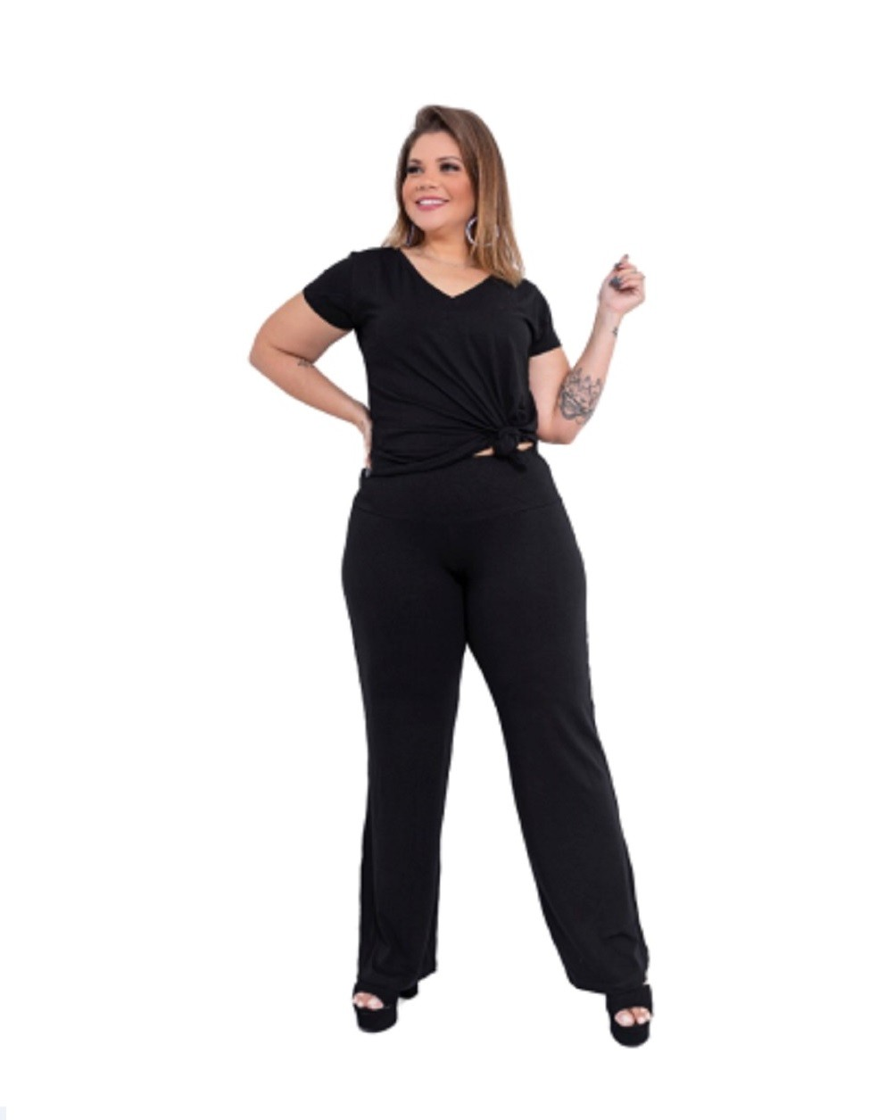 Calça Feminina Pantalona Plus Size Preto Mazal