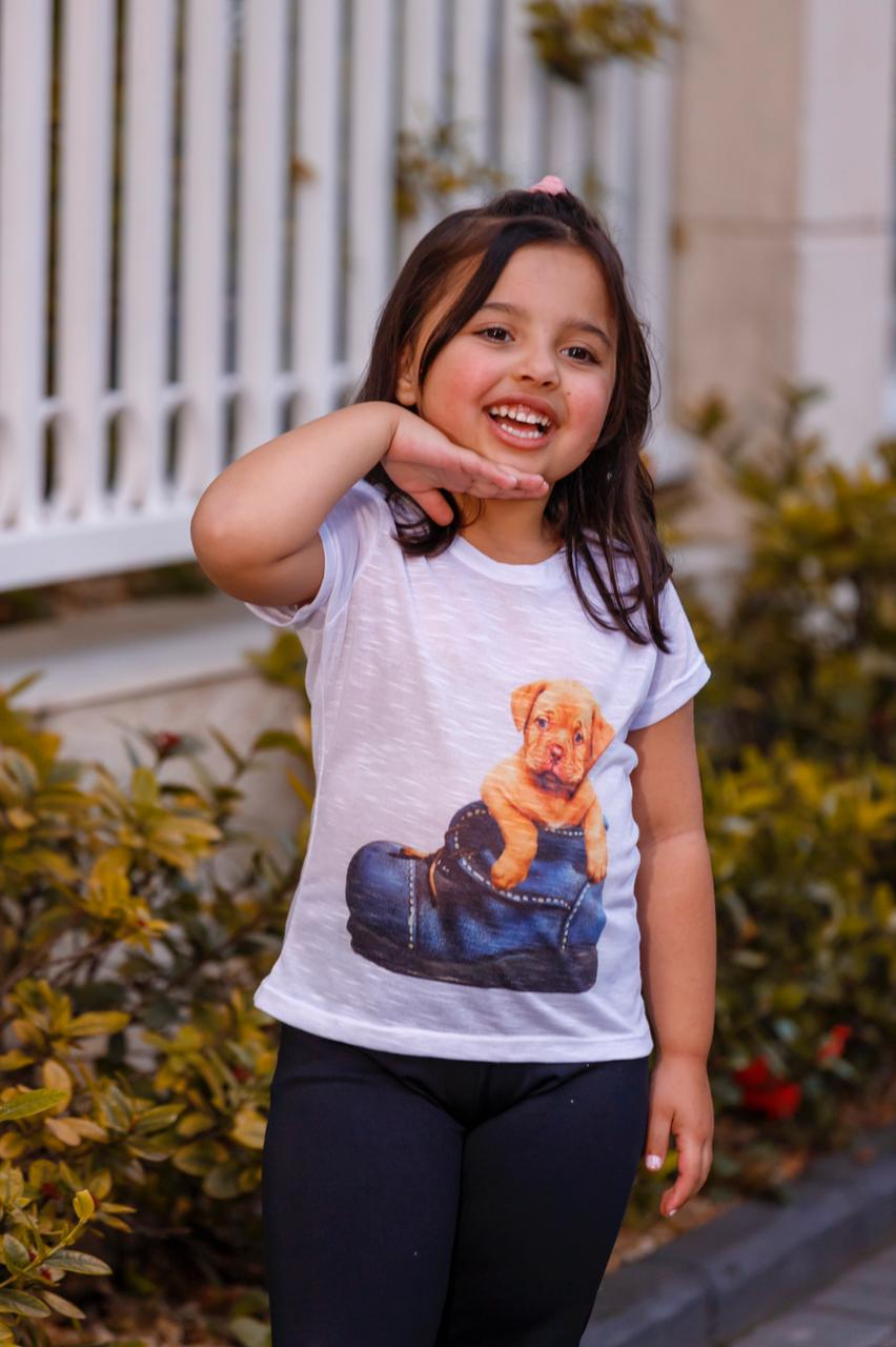 Camiseta Baby Look Gola Redonda Infantil Menina Flame Mazal
