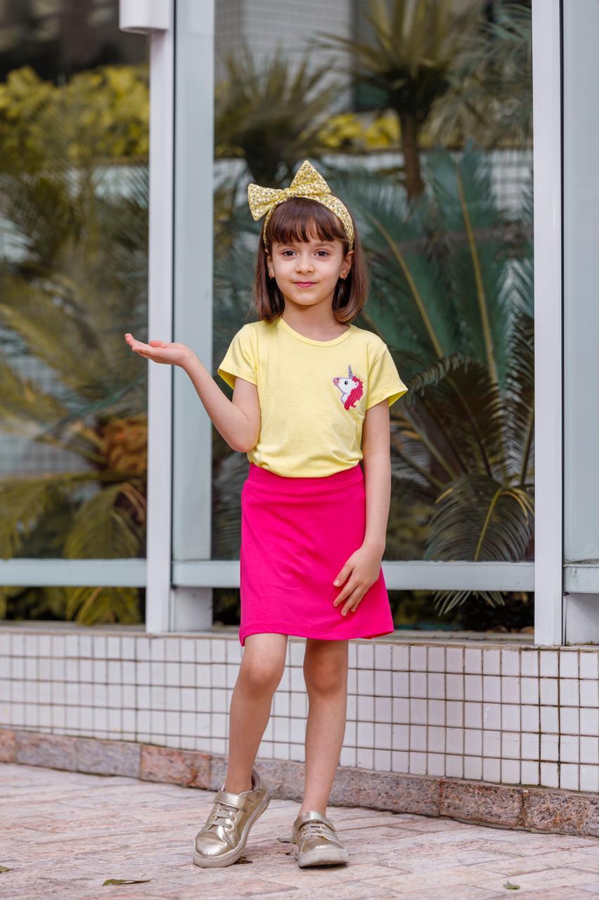 Camiseta Baby Look Manga Curta Infantil Unicórnio Mazal