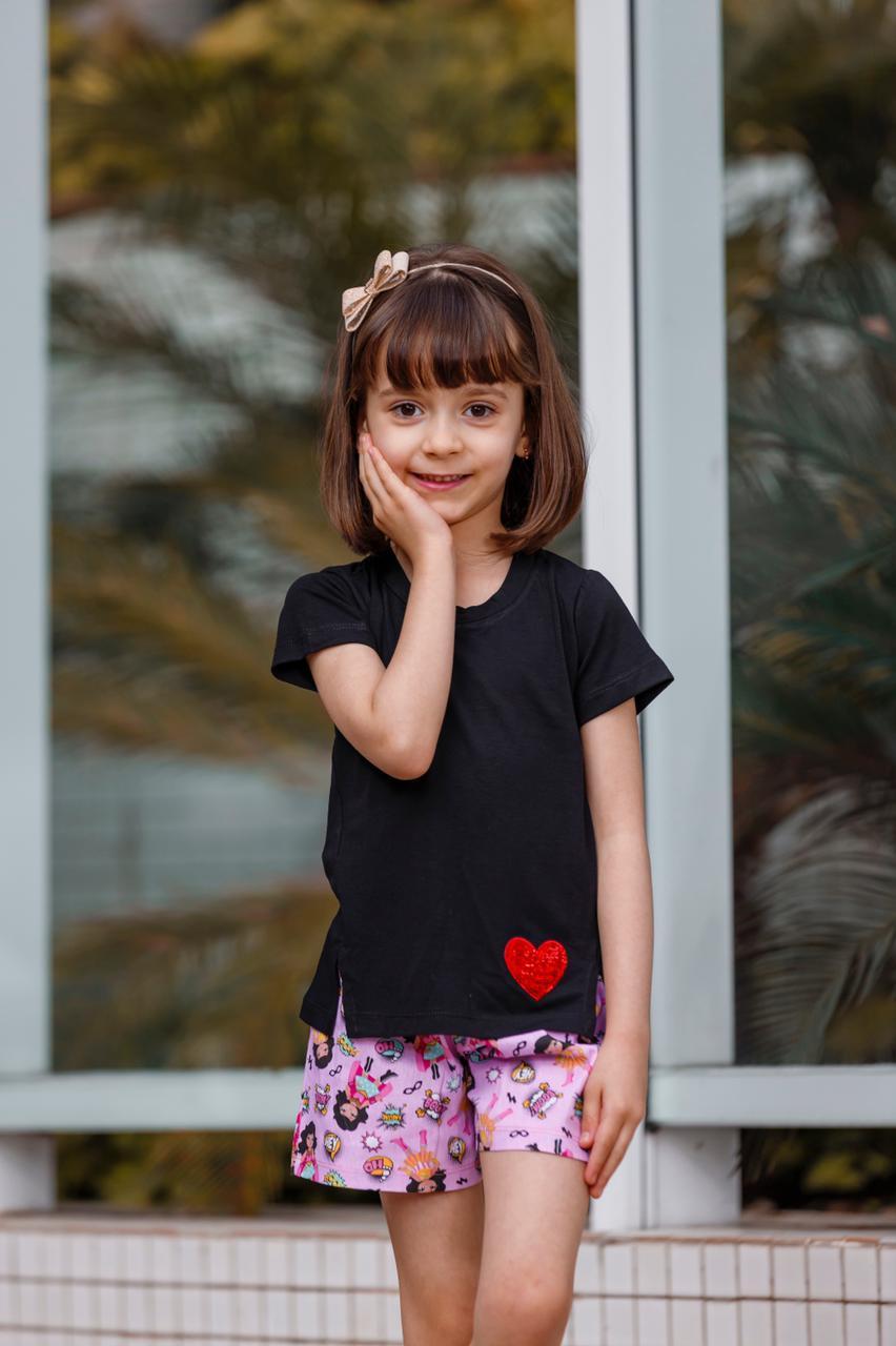 Camiseta Manga Curta Menina Infantil Juvenil Com Fenda Mazal