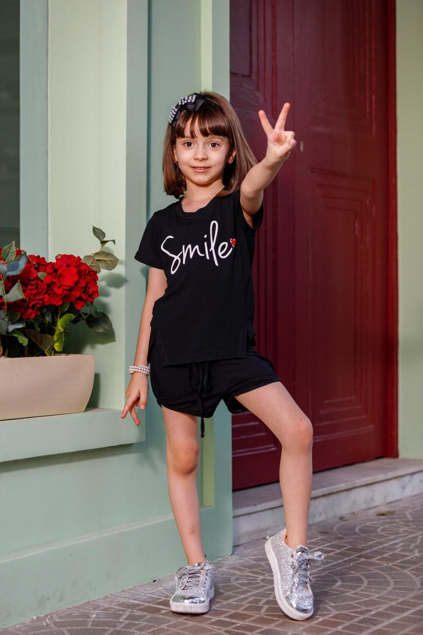 Camiseta Manga Curta Infantil Juvenil Com Fenda Smile Mazal