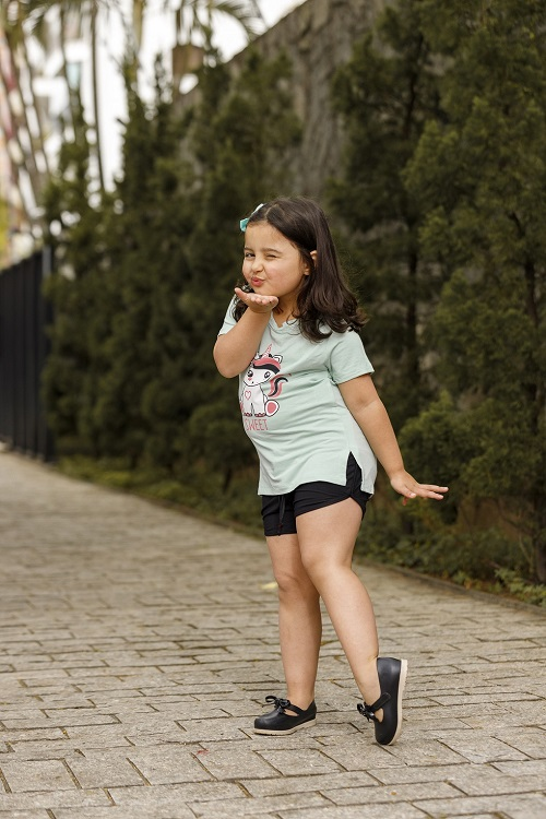 Camiseta Manga Curta Infantil Juvenil Com Fenda Sweet Mazal