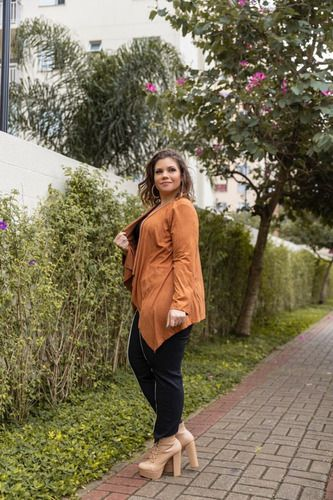 Casaco Cardigan Feminino Em Suede Plus Size Mazal