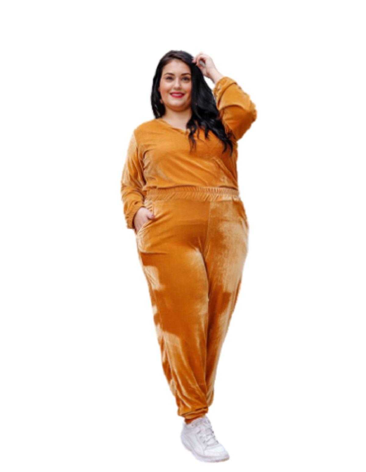 Conjunto Feminino Blusa E Calça Em Veludo Plus Size Mazal
