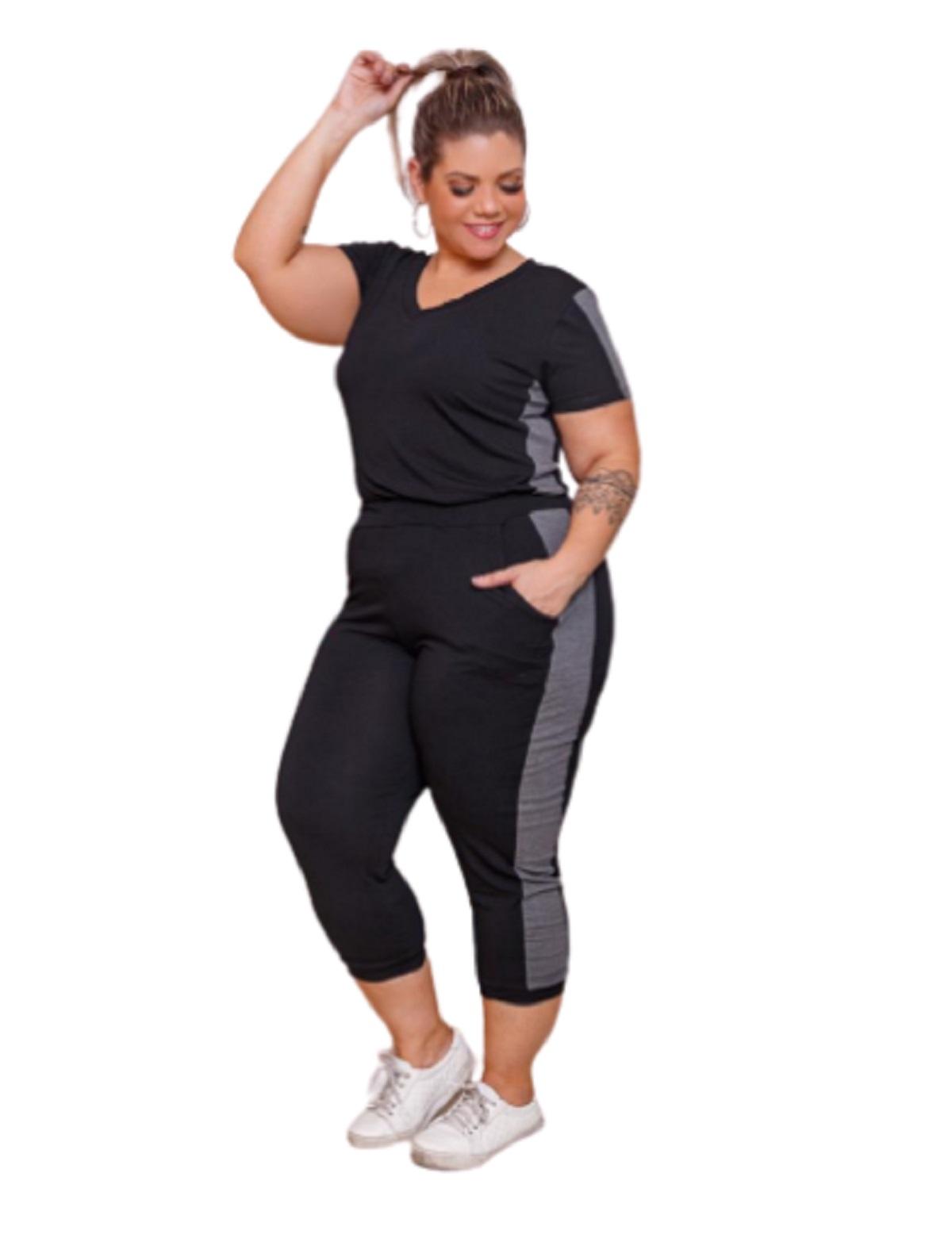 Conjunto Feminino Blusa E Calça Faixa Lateral Plus Sizemazal