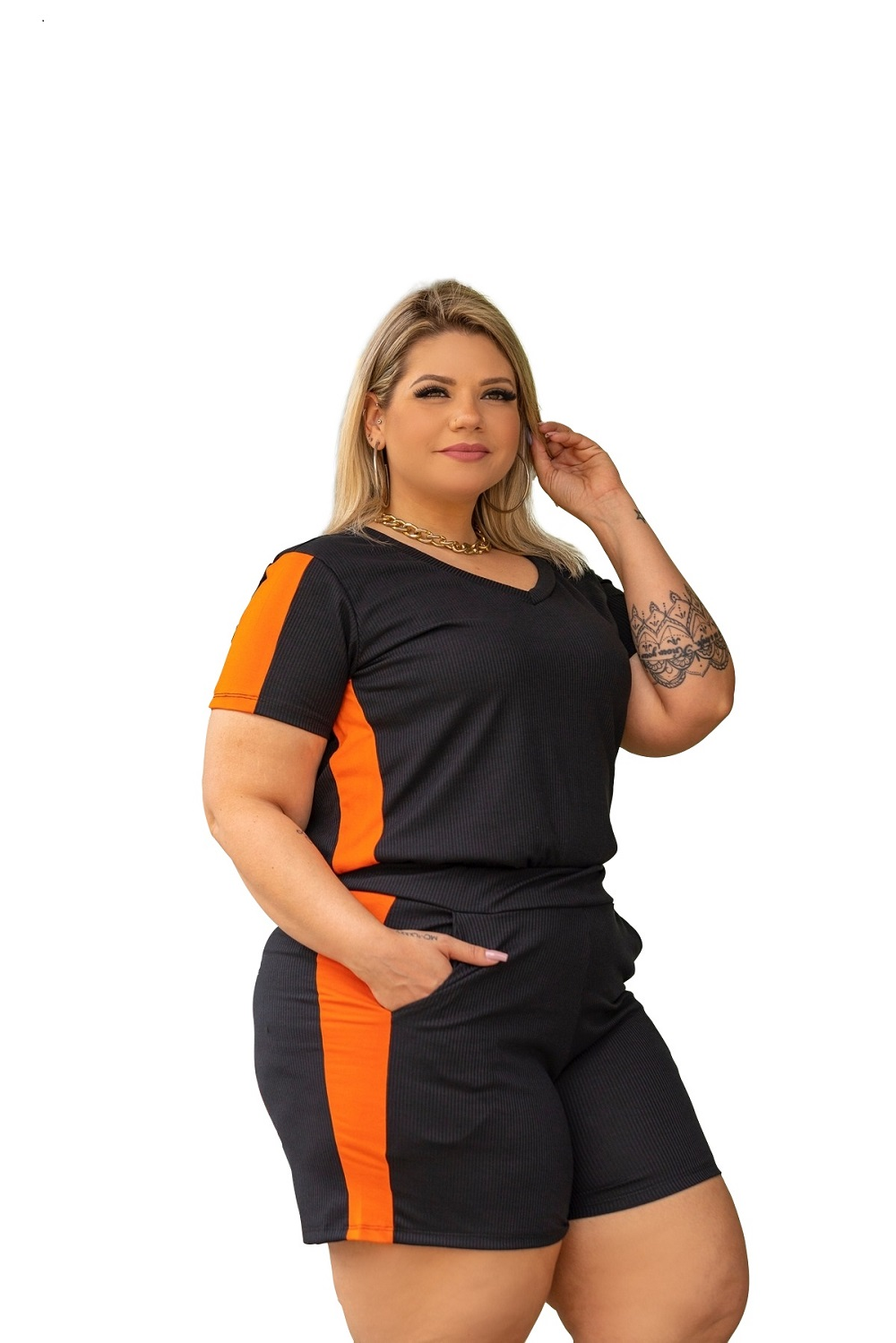 Conjunto Feminino Blusa E Short Canelado Plus Size Mazal