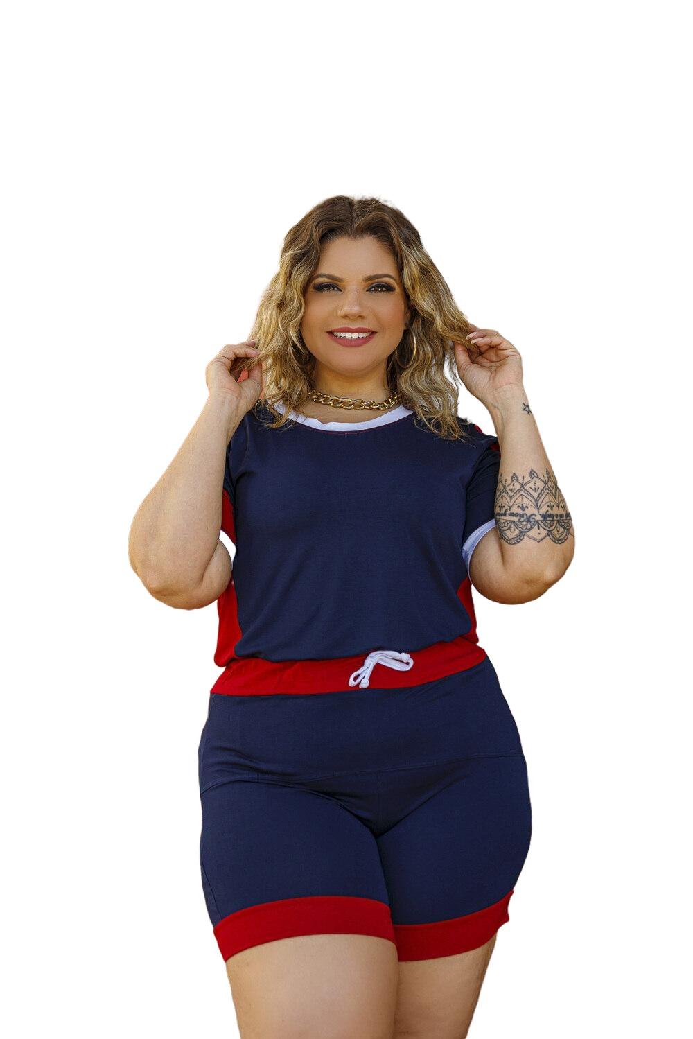Conjunto Feminino Blusa E Short Liso Plus Size Mazal