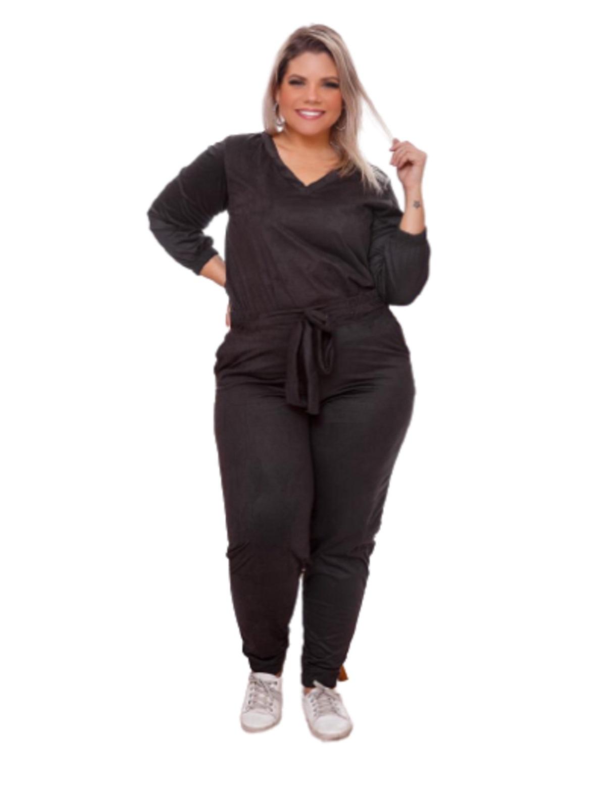 Conjunto Feminino Calça E Blusa Em Suede 7/8 Plus Size Mazal
