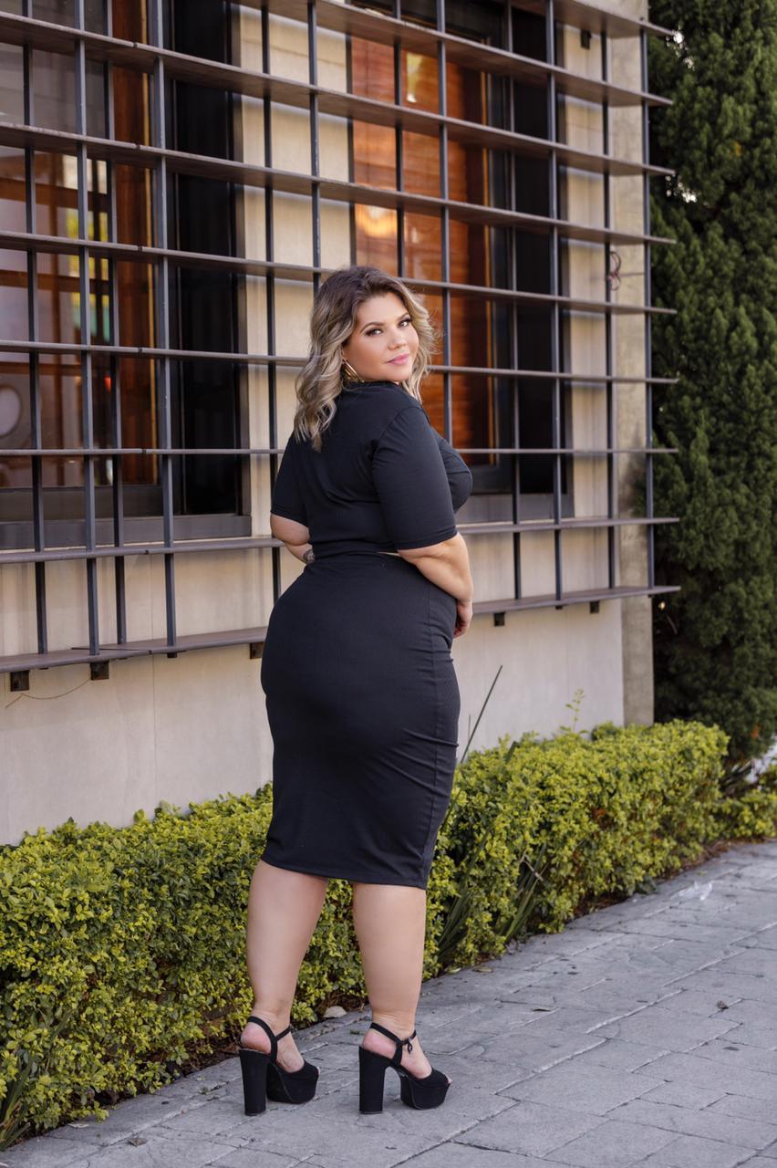 Conjunto Feminino Cropped Saia Lisa Canelado Plus Size Mazal