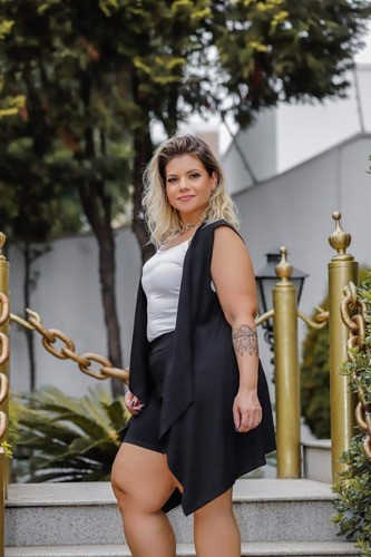 Conjunto Feminino Shorts E Colete Liso Plus Size Mazal