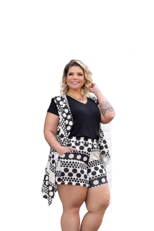Conjunto Feminino Shorts E Colete Plus Size Mazal