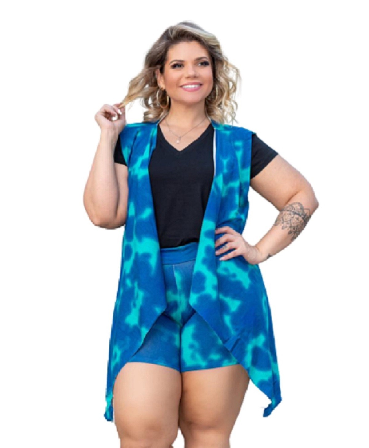 Conjunto Feminino Shorts E Colete Tie Dye Plus Size Mazal
