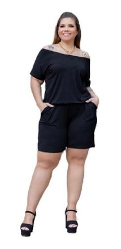 Macacão Feminino Curto Ombro A Ombro Plus Size Mazal