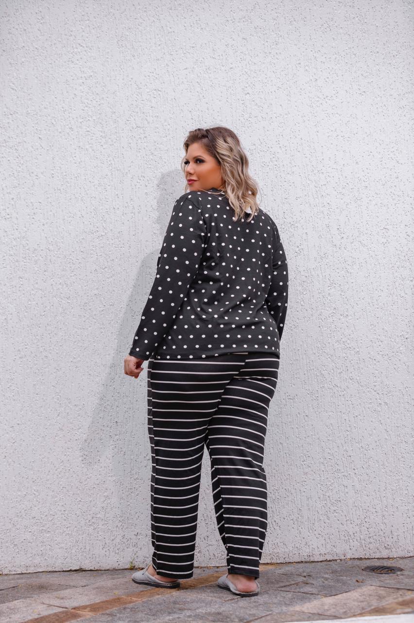 Pijama Blusa Manga Longa E Calça Estampado Plus Size Mazal