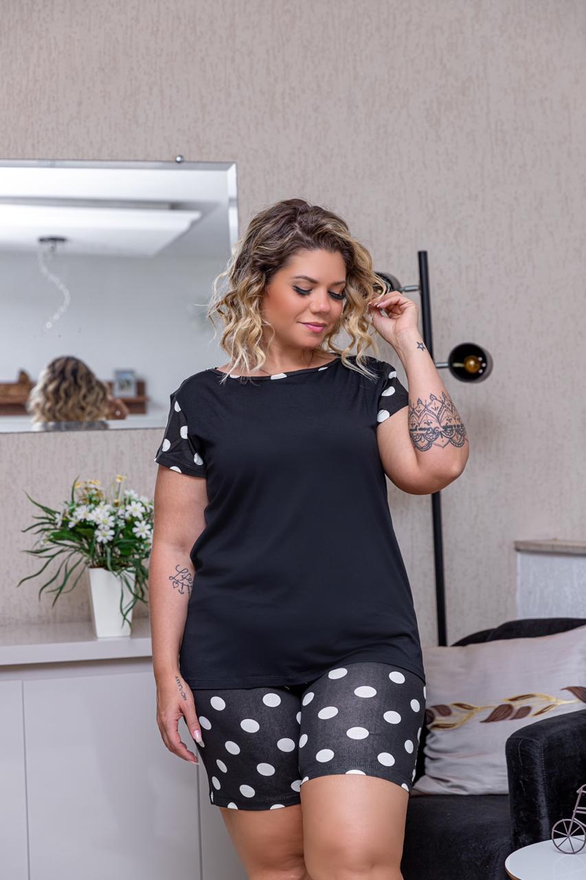Pijama Feminino Blusa E Shorts Curto Bolinha Plus Size Mazal