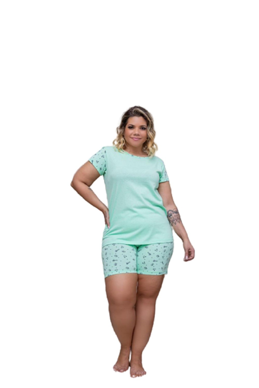 Pijama Feminino Blusa E Shorts Curto Plus Size Mazal