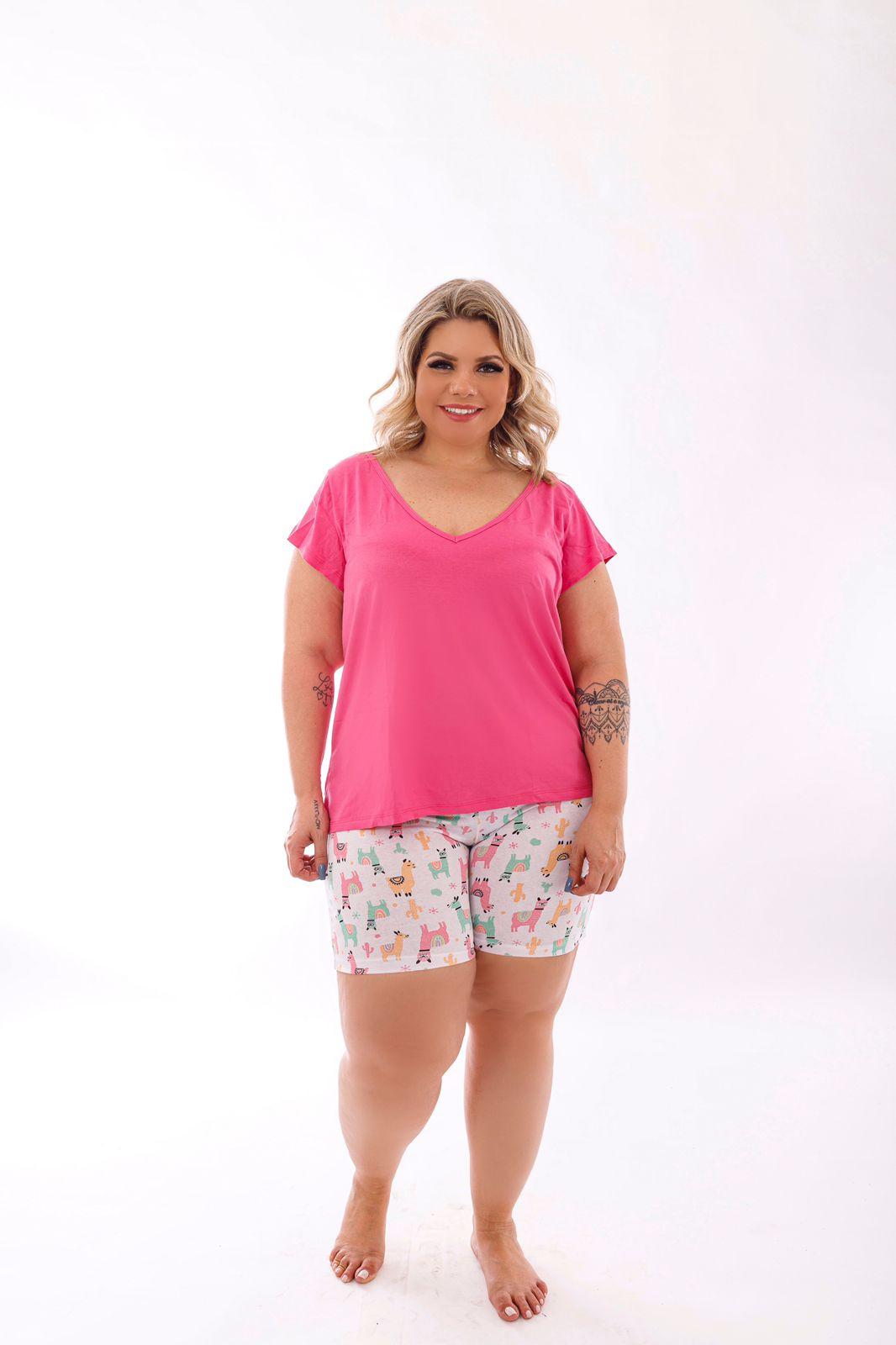 Pijama Feminino Blusa E Shorts Estampado Plus Size Mazal