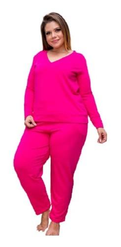 Pijama Feminino Calça E Blusa Em Molecoton Plus Size Mazal