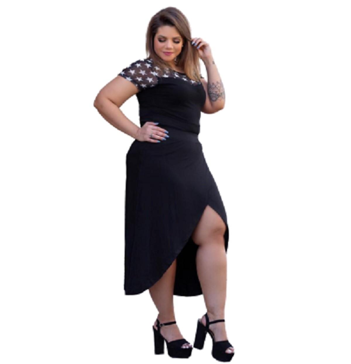 Saia Feminina Transpassada Plus Size Moda Mazal