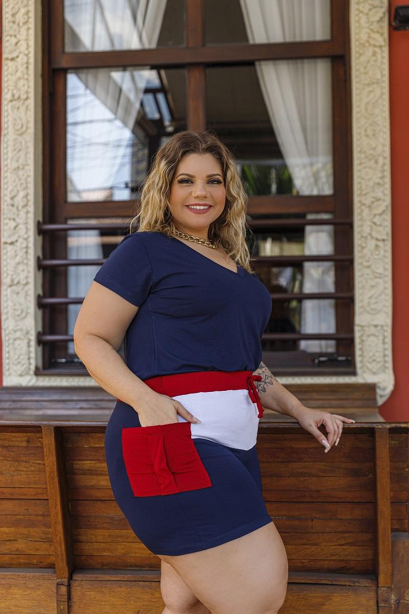 Short Feminino Viscolycra Recortes Bolso Plus Size Mazal