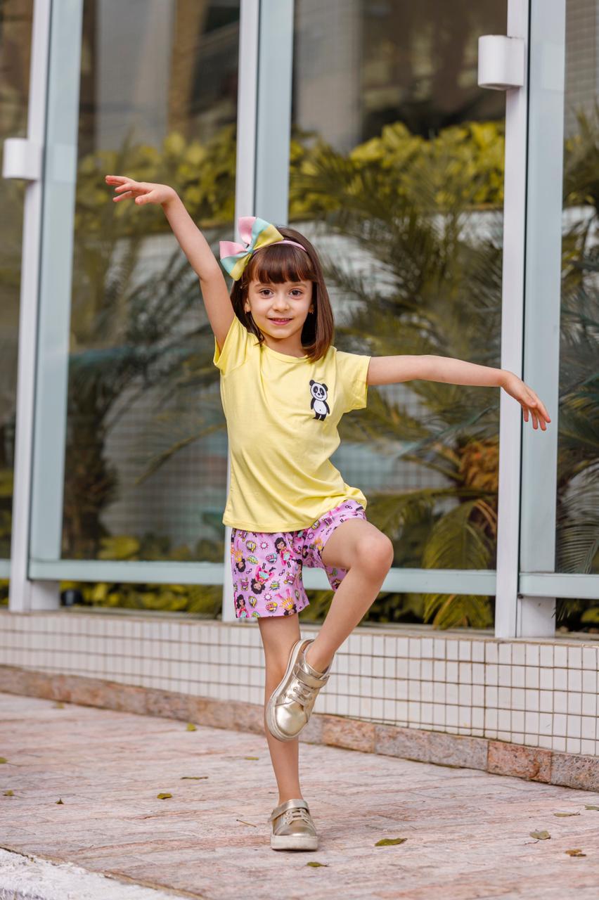 Short De Tricoline Infantil Juvenil Menina Estampado Mazal