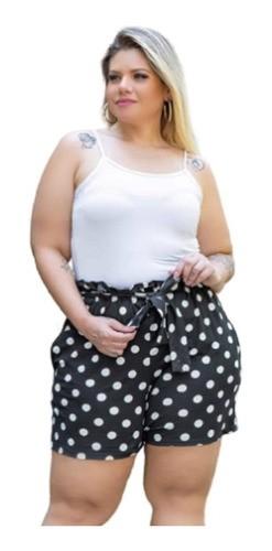 Shorts Feminino Com Passante E Cinto Estamp Plus Size Mazal