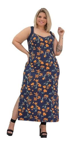 Vestido Feminino Com Alça Fenda Estampado Plus Size Mazal