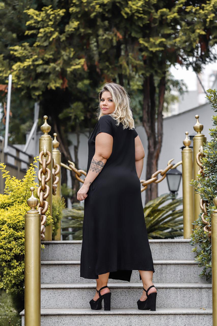 Vestido Feminino Longo Com Bolso E Fenda Plus Size Mazal