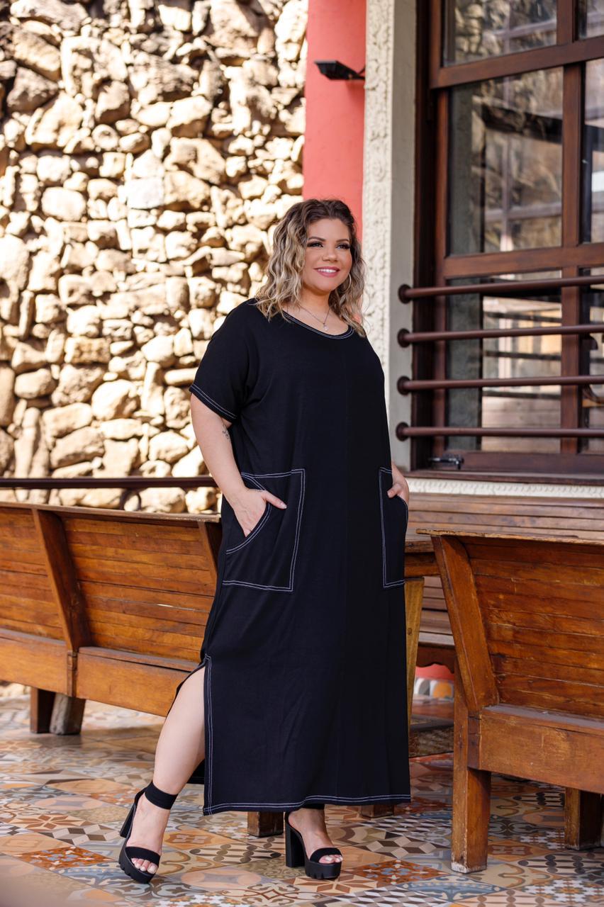 Vestido Feminino Longo Com Bolso Sobreposto Plus Size Mazal