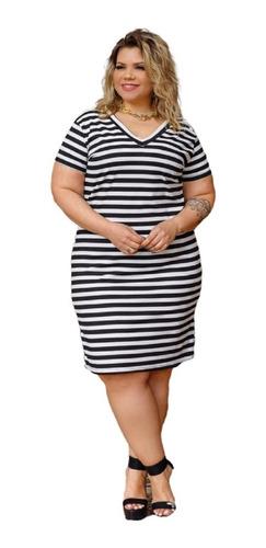 Vestido Feminino Malha Canelado Listrado Plus Size Mazal