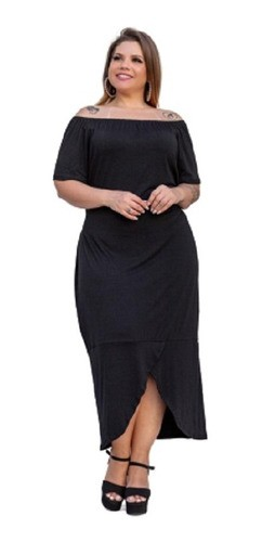 Vestido Feminino Manga Curta Ombro A Ombro Plus Size Mazal