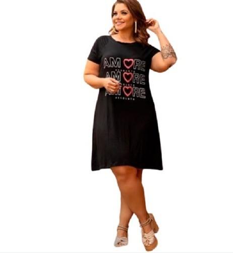 Vestido Feminino Plus Size Manga Raglan Estampa Amore Mazal