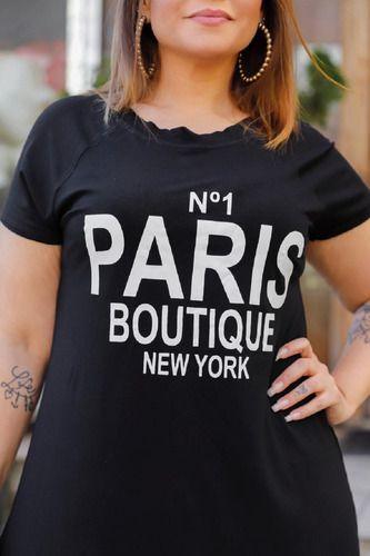Vestido Feminino Plus Size Manga Raglan Estampa Paris Mazal