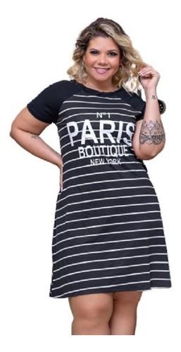 Vestido Feminino Manga Raglan Paris Listrado Plus Size Mazal