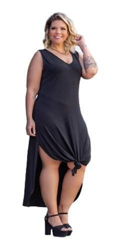 Vestido Feminino Regata Com Fenda Liso Plus Size Mazal