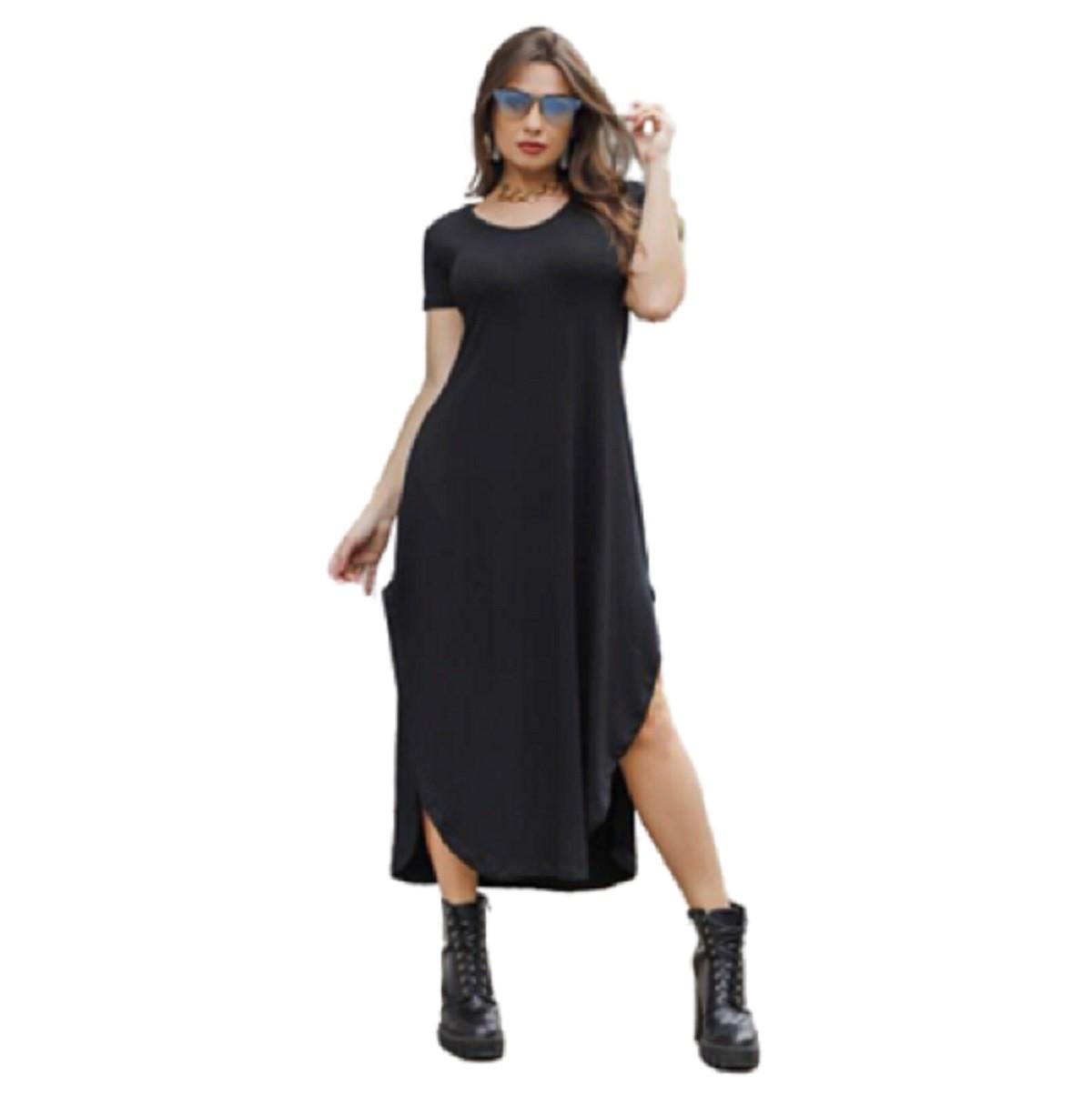 Vestido Longo Feminino Dupla Fenda Lateral Mazal