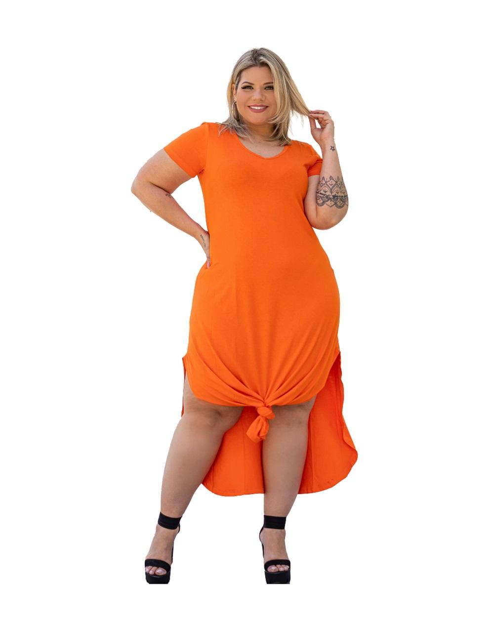 Vestido Longo Plus Size Com Fenda Lateral Manga Curta Mazal