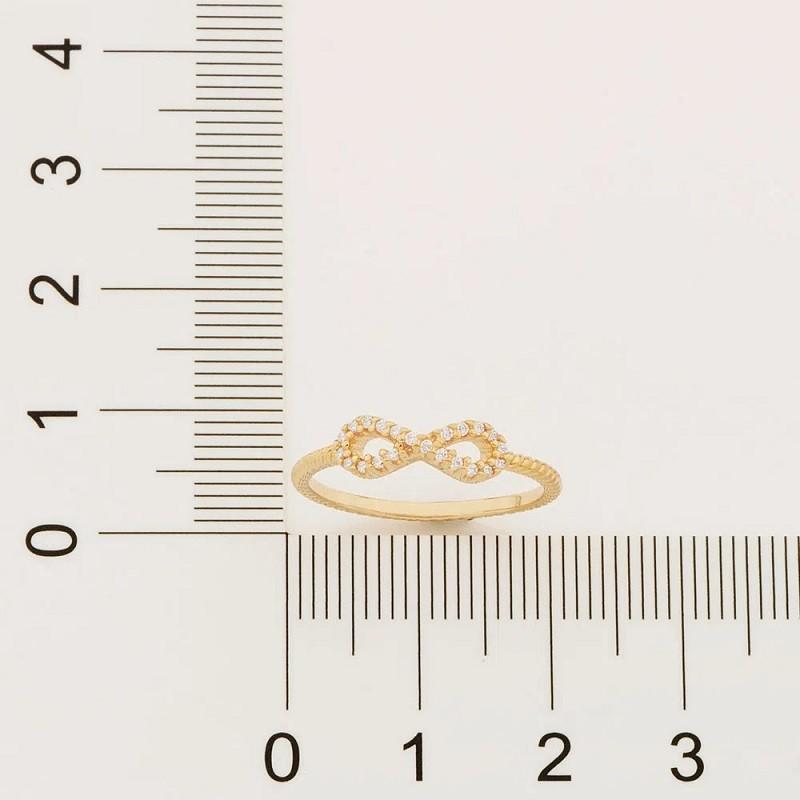 ANEL FOLHEADO A OURO SKINNY RING INFINITO  COM ZIRCÔNIAS - 512885 | 110849