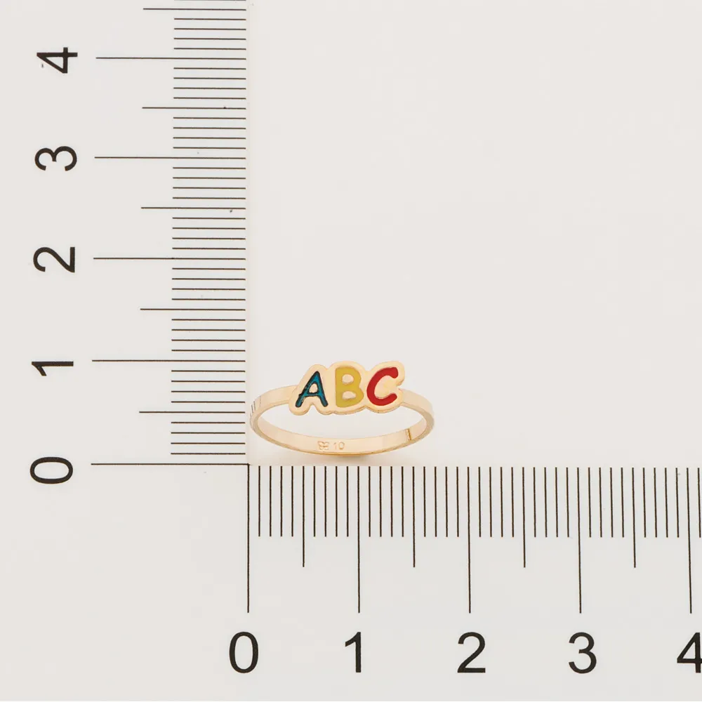ANEL INFANTIL FOLHEADO A OURO ''LETRAS ABC'' COM APLICAÇÃO EM RESINA - 512803