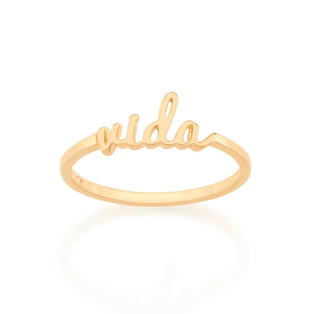 ANEL FOLHEADO A OURO SKINNY RING ''VIDA''  - 512859