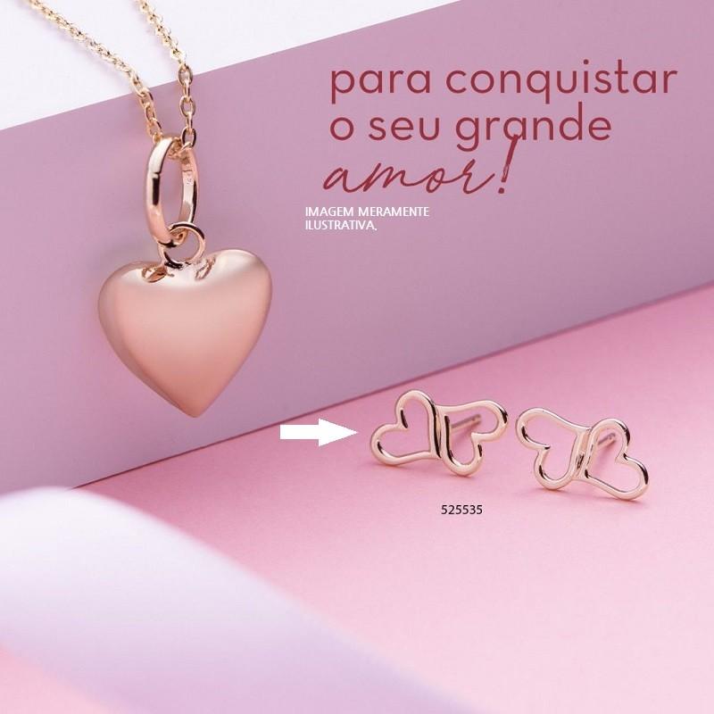 BRINCO FOLHEADO A OURO CORAÇÕES VAZADOS INTERCALADOS - 525535