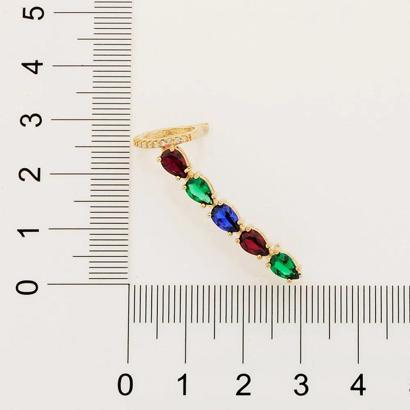 BRINCO FOLHEADO A OURO  EAR CUFF COM ZIRCÔNIAS COLORIDAS - 526497