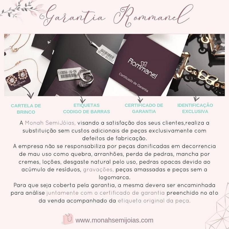 """CORDÃO FOLHEADO ROMMANEL """"PAD LOCKER"""" COM FECHO RETANGULAR CRAVEJADO POR ZIRCÔNIAS - 532120"""