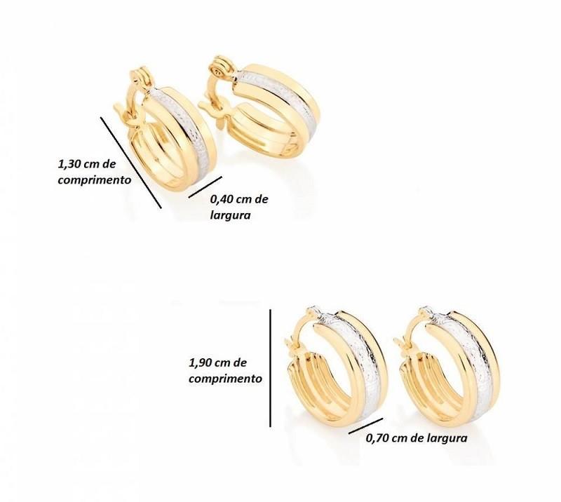 KIT BRINCOS DE ARGOLAS FOLHEADAS ROMMANEL FILETE RHODIUM - 523830 | 525128
